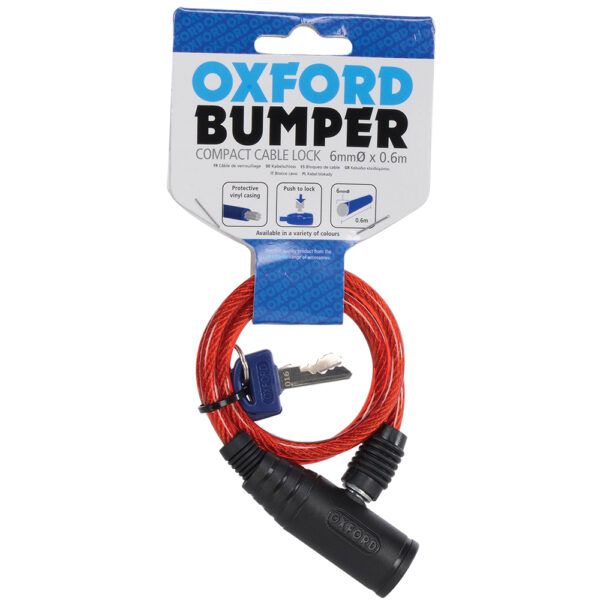 Oxford Bumper cable lock Red 6mm x 600mm