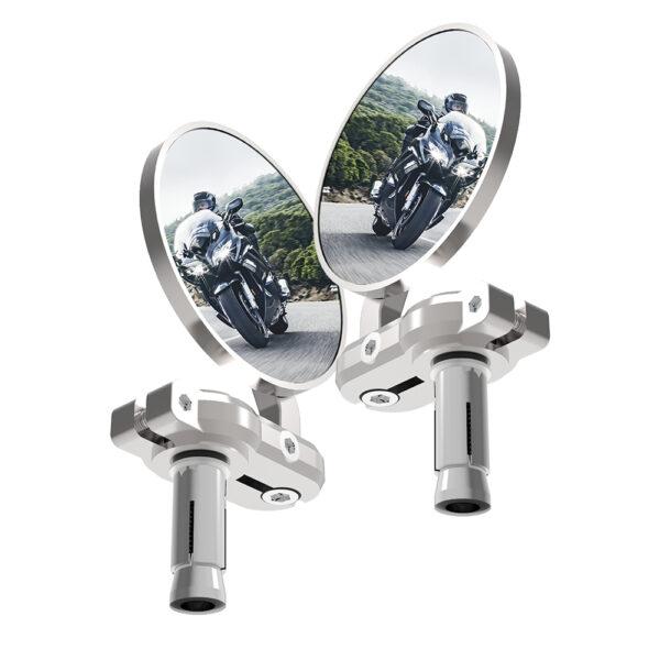 Oxford Bar End Mirrors - Silver
