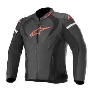 Alpinestars Jaws v3 Leather Jacket Black  Red Fluo