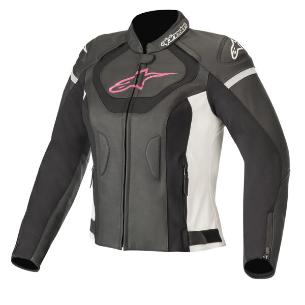 Alpinestars Stella Jaws v3 Leather Jacket Black White  Fuchsia