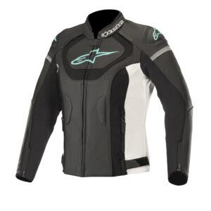 Alpinestars Stella Jaws v3 Leather Jacket Black White  Teal