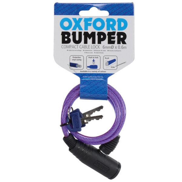 Oxford Bumper cable lock Purple 6mm x 600mm