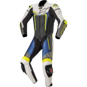 Alpinestars Motegi v3 1 Piece  Leather Suit 1  Black White Metallic Grey  Blue