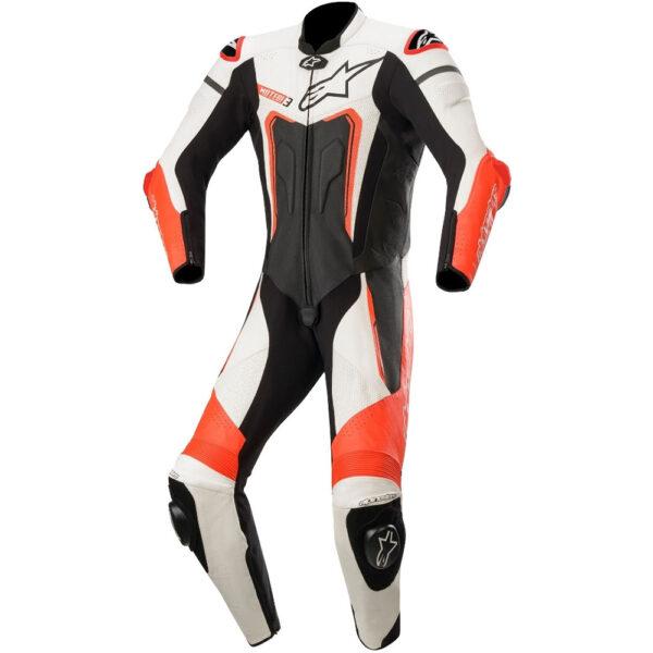 Alpinestars Motegi v3 1 Piece  Leather Suit 1  Black Red Fluo  White